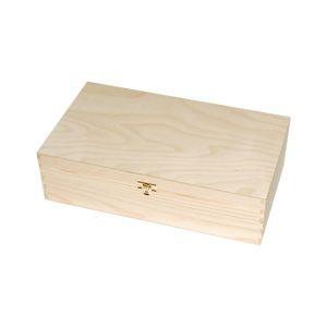 Dřevěná krabička na 2 vína 35x20x9.8 cm (kazeta na víno se zapínáním)