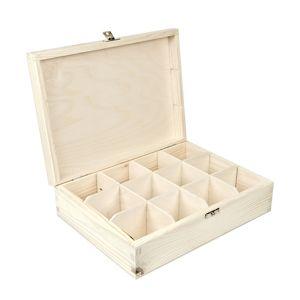 Dřevěná krabička na čaj / 12 přihrádek (dřevěné polotovary na kreativní)