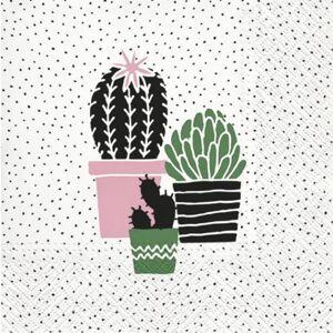 Ubrousky na dekupáž Cactus on Dots rose - 1 ks (ubrousky na dekupáž)