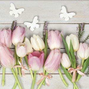 Ubrousky na dekupáž White & Pink tulipány on Wood - 1 ks (ubrousky na)
