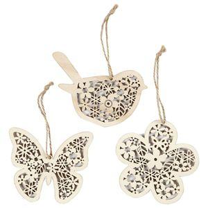 Závěsné dřevěné ornamenty se šňůrkou - 3 ks (ornamenty ze dřeva)